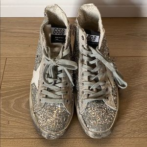 Silver Glitter Golden Goose High Top Sneakers
